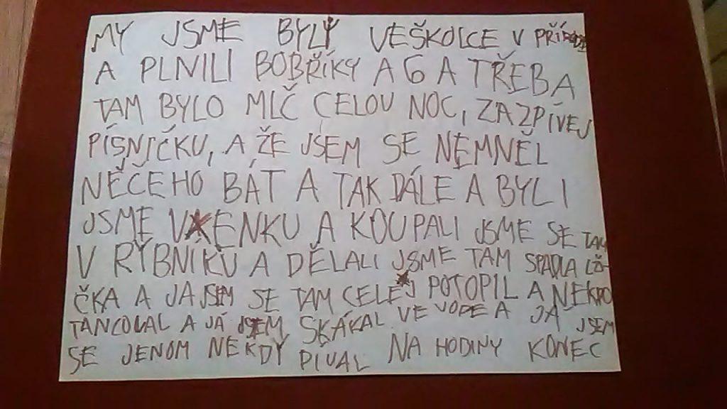 Papír se zážitky ze školky v přírodě od Matýska.