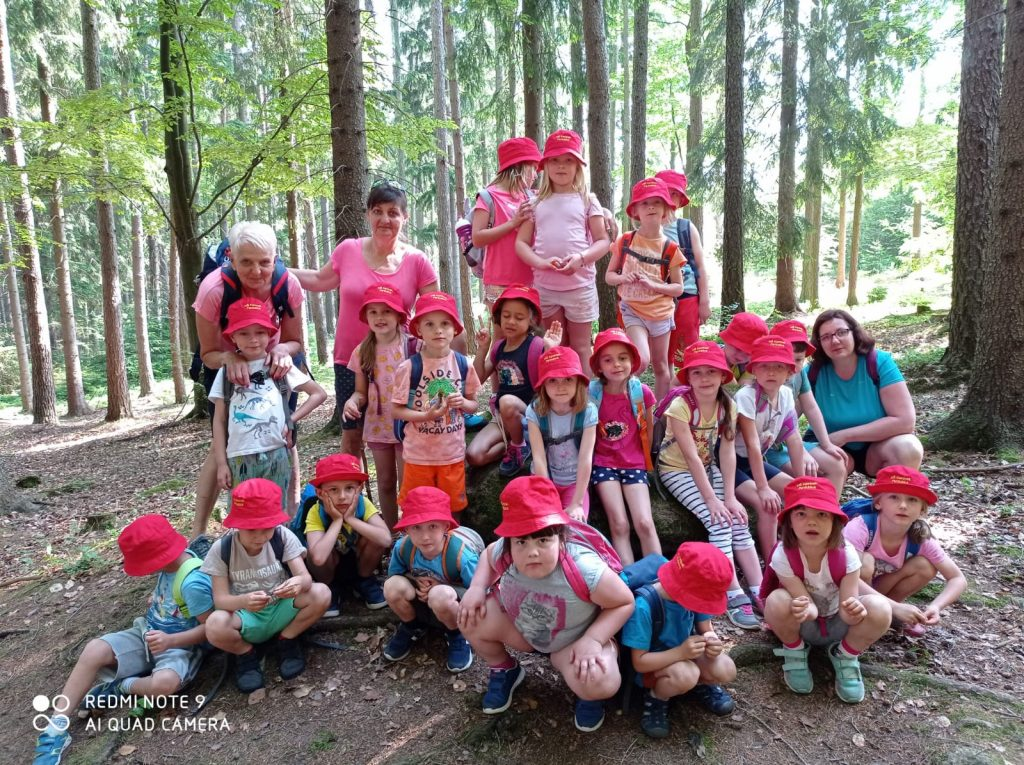 Děti se fotí v lese.